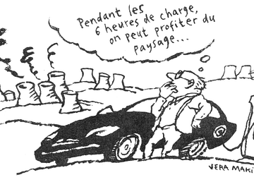 Dessin humoristique voiture électrique (Vera Makina) - Le Canard enchaîné, 17/10/2018 p.5