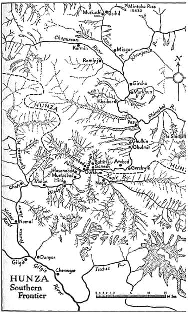 Carte du Hunza par John Clark (1957)